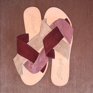 NWT Free People Pink Velvet Sandals (39)
